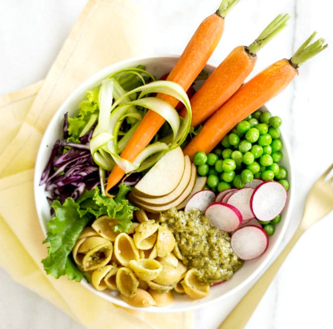 Vegan Nourish Bowl with Pasta & Pesto
