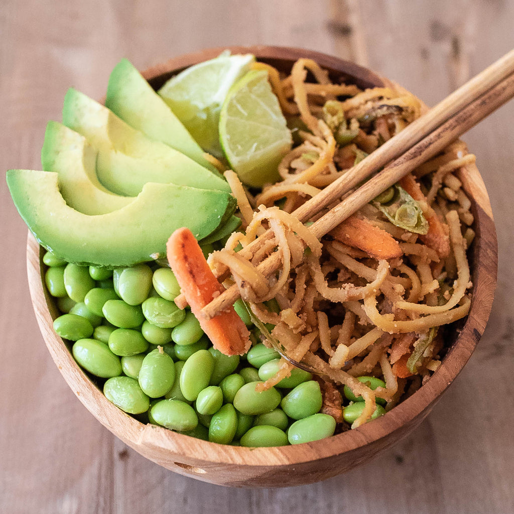Asian Summer Noodle Bowl with Peanut Dressing