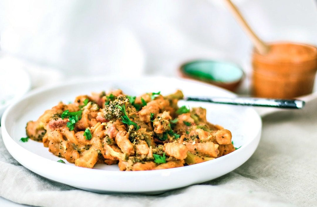 Creamy Instant Pot Pasta with Romesco Sauce (V, DF, GF)