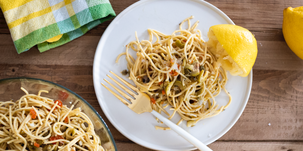 Spaghetti with Lemon, Capers and Olives