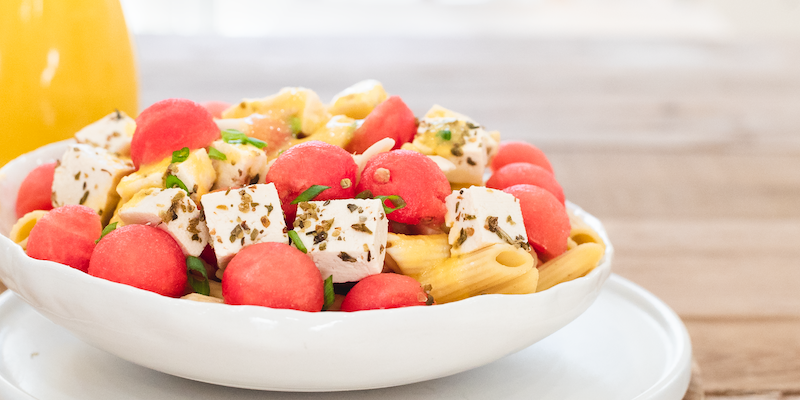 "Watermelon ""Feta"" Pasta Salad"