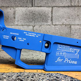 EDC Tactical HILLARY FOR PRISON Lower Reciever with NRA Blue Cerakote and White Color Fill