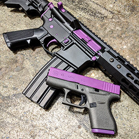 Custom AR-15 Build and Matching Glock 43 with Wild Purple, Graphite Black and Tungsten Cerakote