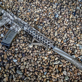 EDC Tactical Custom Rifle Build with American Flag Stenciled Suppressor and Camo Cerakote