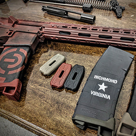 EDC Tactical Custom AR-15 Rifle, Battleworn Black and Crimson Cerakote<br /> Including Stenciled Magazine and Magpod