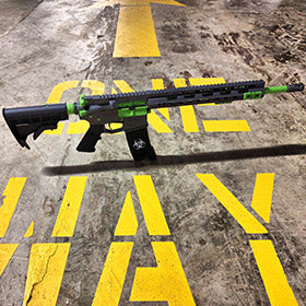 EDC Tactical Custom AR-15 Rifle, Cerakote Tungsten with Zombie Green accents, stenciled magazine