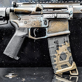 EDC Tactical AR Pistol Build with Custom Engraving and Spartan Worn Cerakote