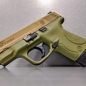 Smith & Wesson M&P Shield with Bazooka Green Frame, Burnt Bronze Cerakote Slide