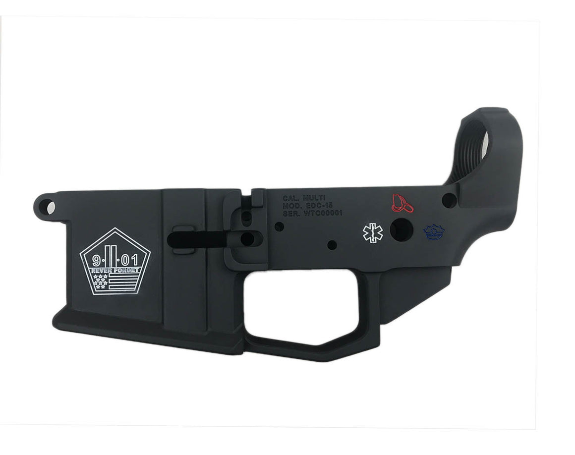 EDC Tactical 9/11 TRIBUTE AR-15 Lower Receiver Passenger Side - SNIPER GREY CERAKOTE