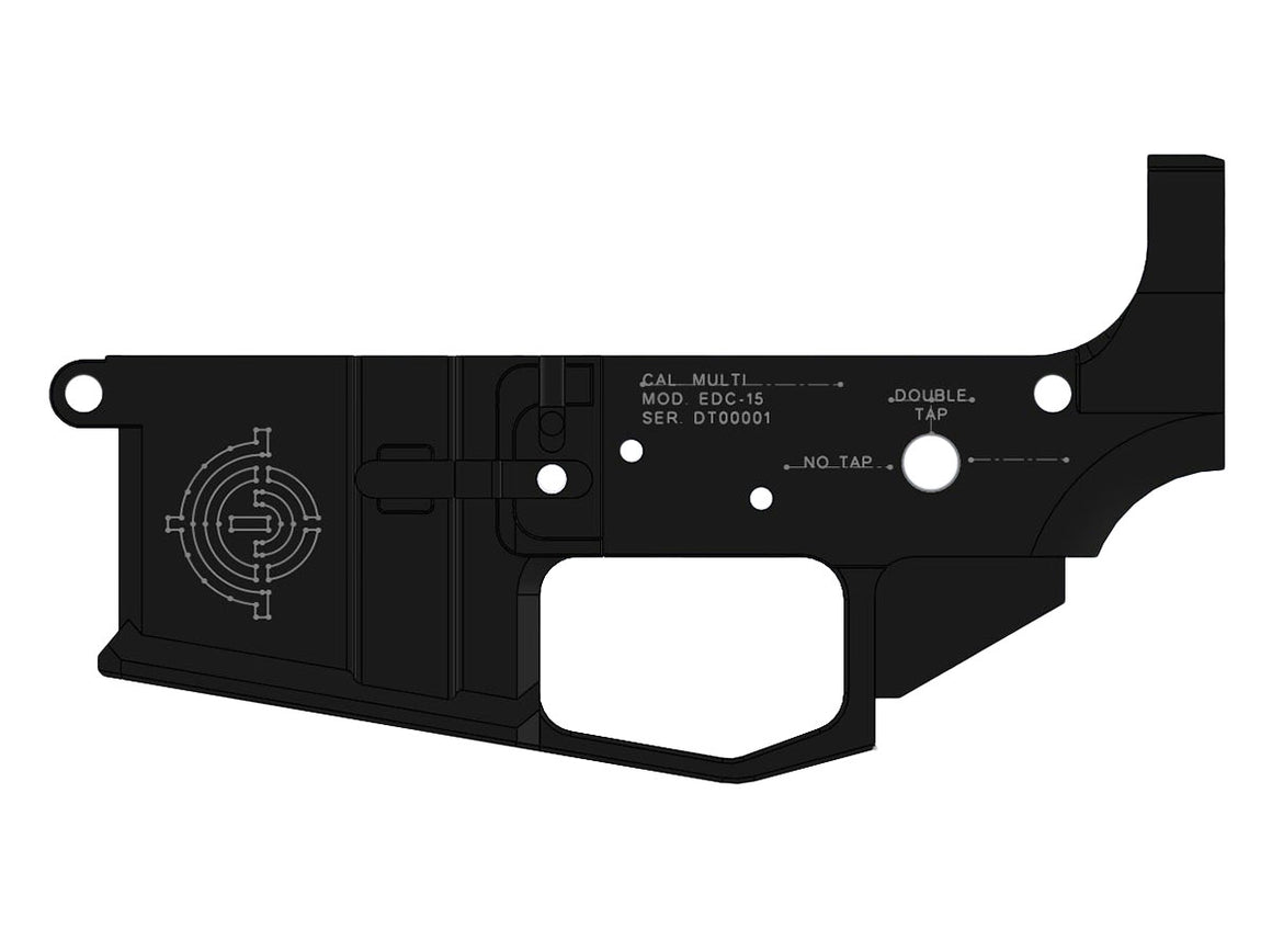 EDC Tactical DOUBLE TAP AR-15 Lower Receiver Passenger Side - RENDER