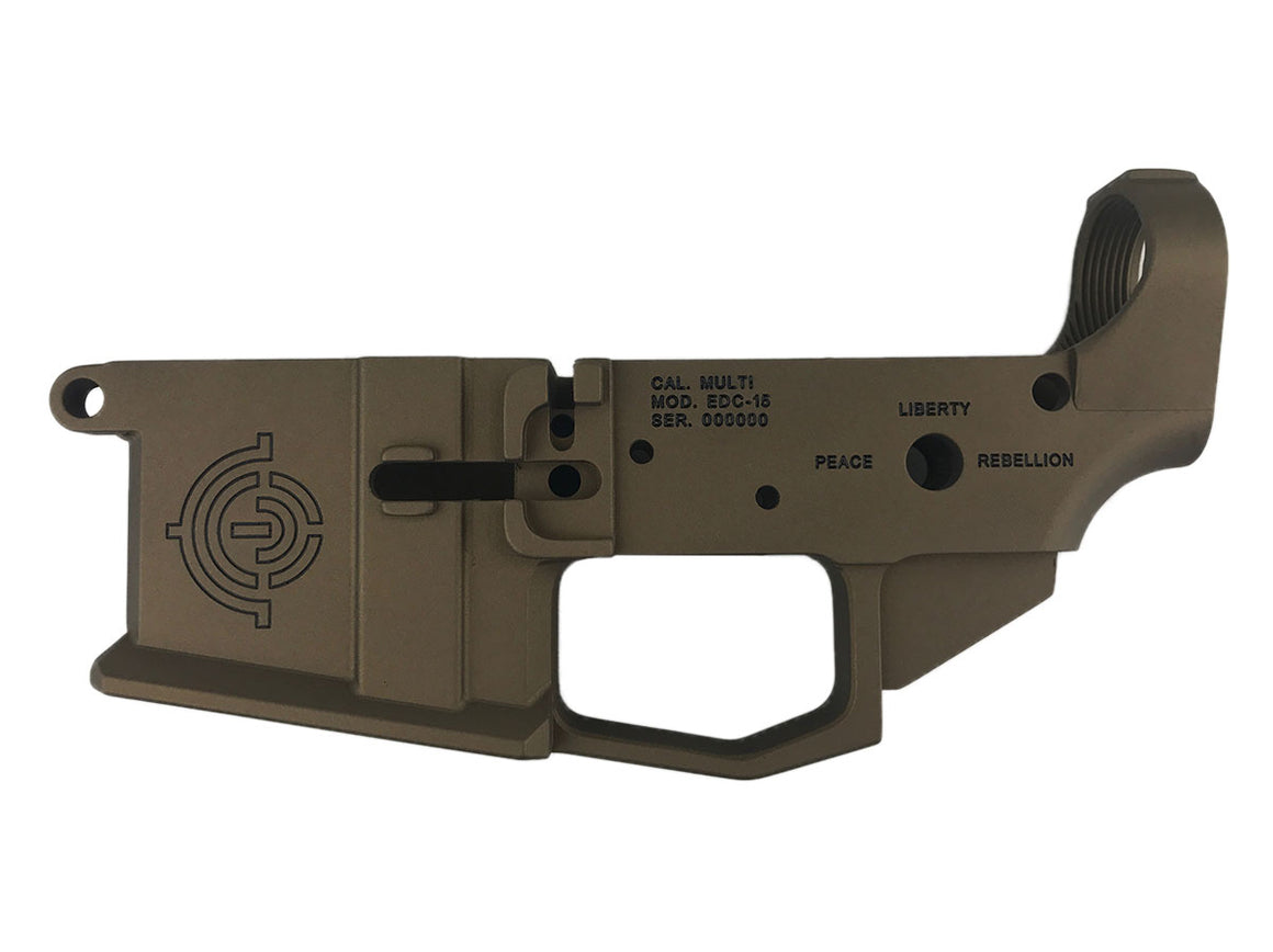 "EDC Tactical ""Don't Tread On Me"" AR-15 Lower Receiver Passenger Side - BURNT BRONZE CERAKOTE"