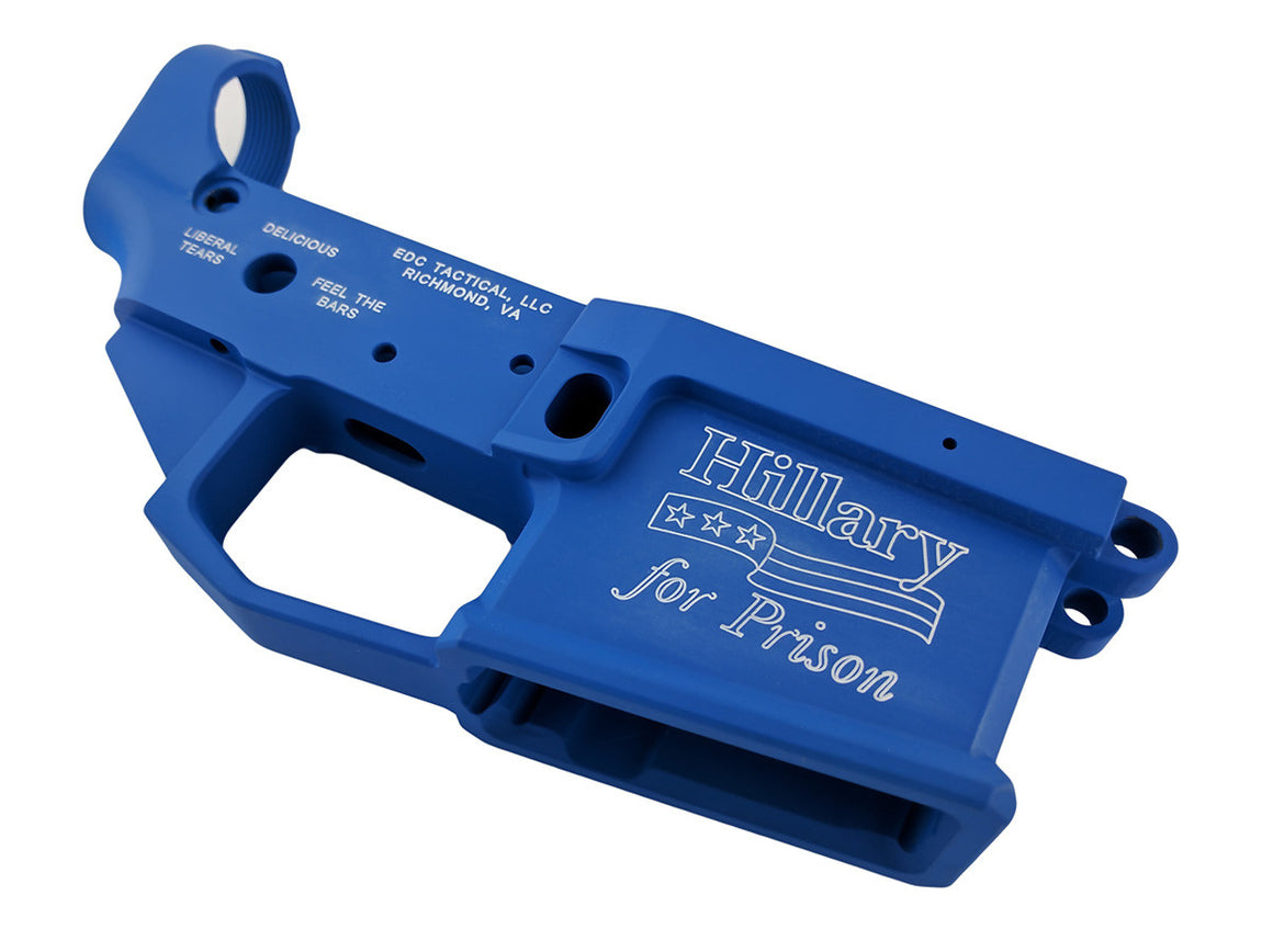 EDC Tactical HILLARY FOR PRISON AR-15 Lower Receiver NRA Blue Cerakote Passenger Side