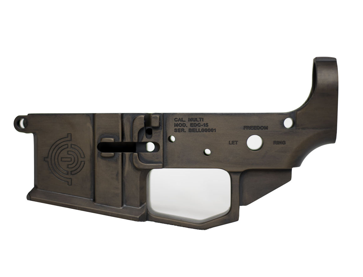 "EDC Tactical ""Liberty Bell"" AR-15 Lower Receiver Passenger Side - Antique Bronze CERAKOTE"