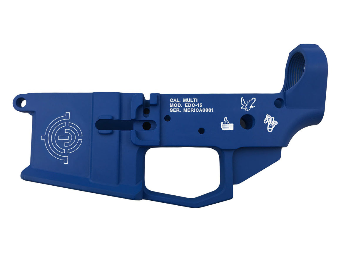 EDC Tactical 'MERICA AR-15 Lower Receiver Passenger Side - NRA BLUE CERAKOTE
