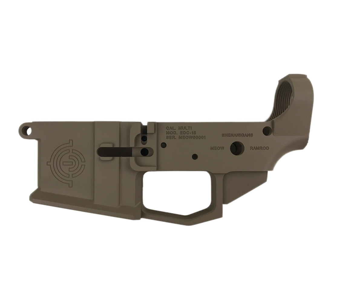 EDC Tactical Mother of God AR-15 Lower Receiver Passenger Side - MAGPUL FDE CERAKOTE