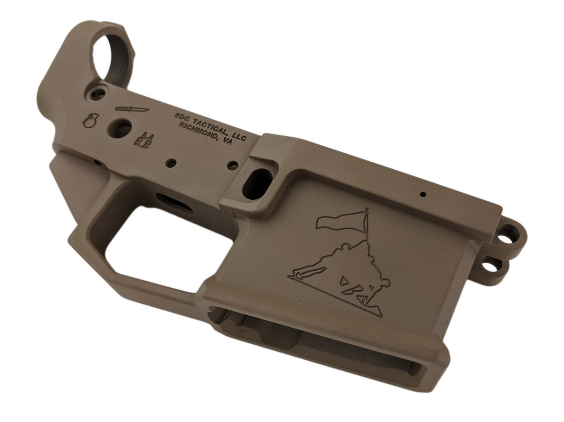 EDC Tactical OOHRAH AR-15 Lower Receiver Passenger Side - Magpul FDE CERAKOTE