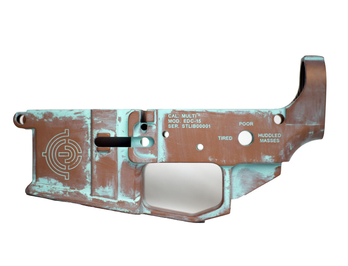 "EDC Tactical ""Statue of Liberty"" AR-15 Lower Receiver Passenger Side - Copper Patina CERAKOTE"