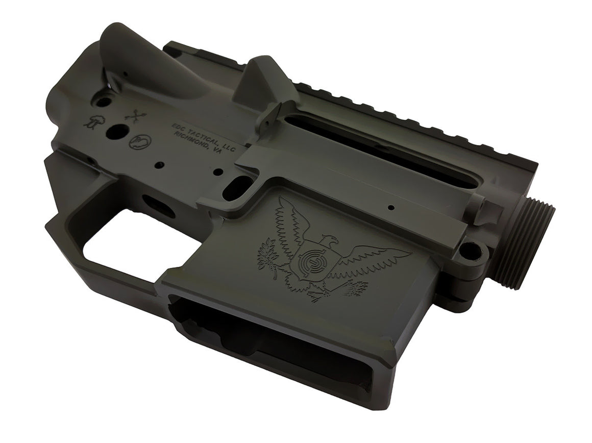 EDC Tactical THE GENERAL AR-15 Upper Lower Receiver Combo Set Passenger Side - OD GREEN CERAKOTE