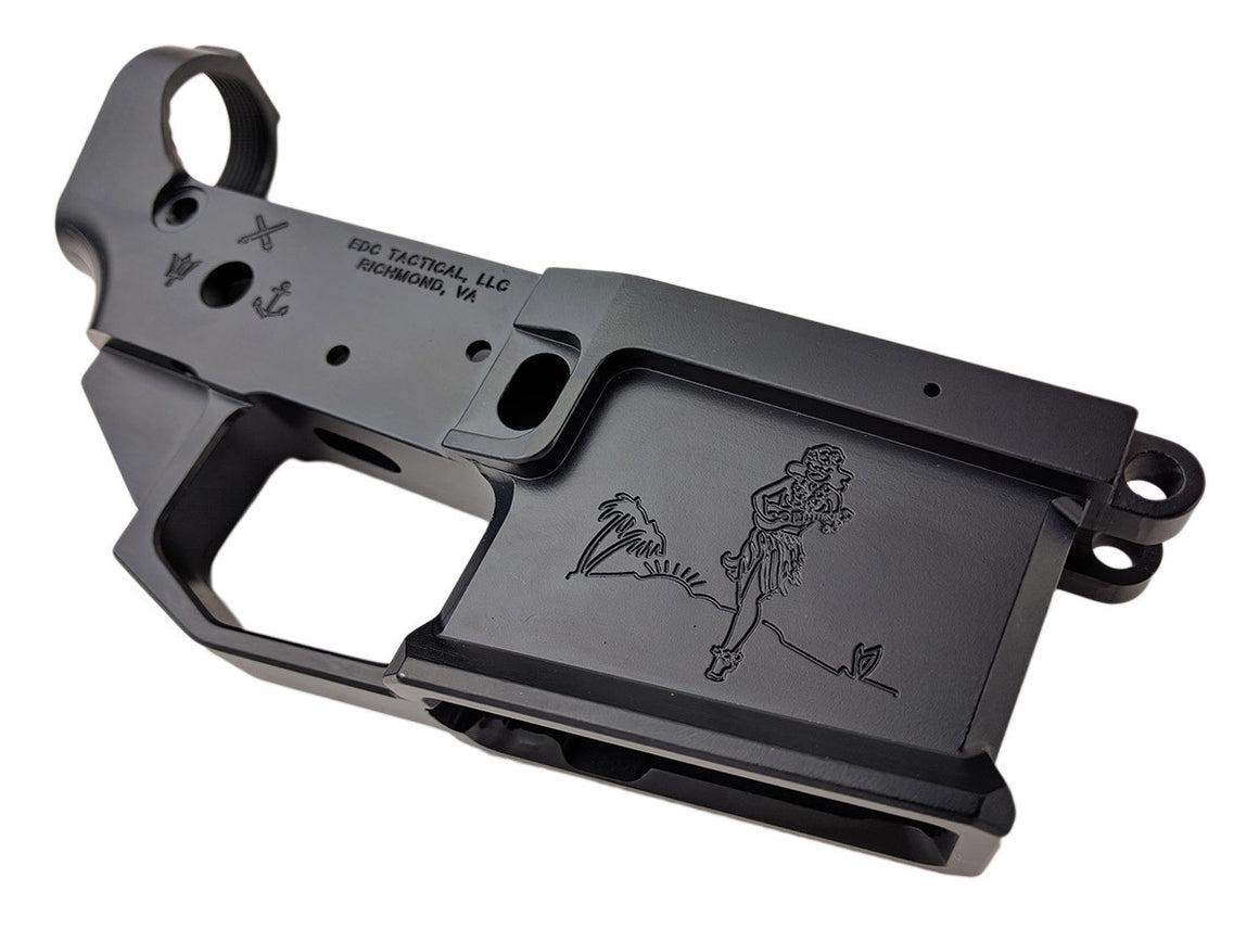 EDC Tactical The Sailor AR-15 Lower Receiver Passenger Side - SOCOM BLUE CERAKOTE