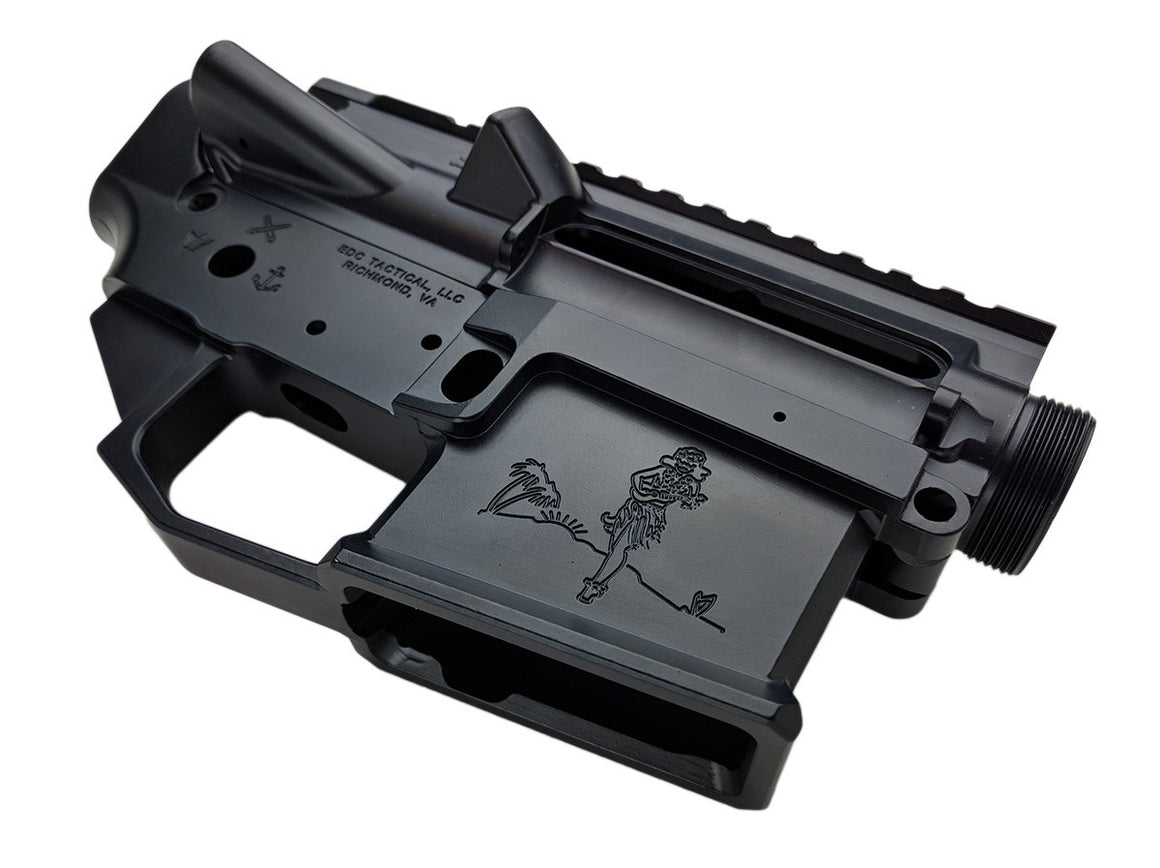 EDC Tactical THE SAILOR AR-15 Upper Lower Receiver Combo Set Passenger Side - SOCOM BLUE CERAKOTE