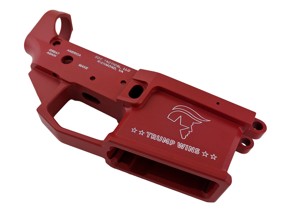 EDC Tactical TRUMP WINS AR-15 Lower Receiver SW Red Cerakote Passenger Side