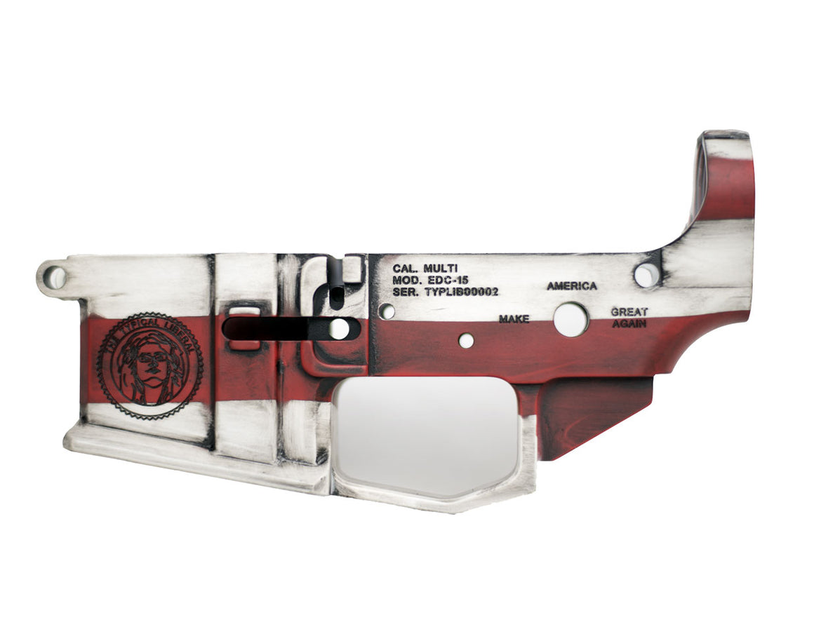 EDC Tactical Typical Liberal AR-15 Lower Receiver Passenger Side - Red White & Blue CERAKOTE