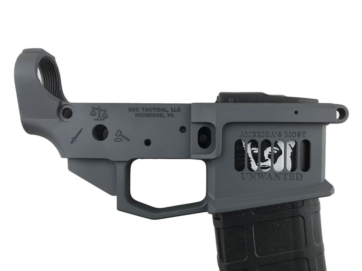 EDC Tactical UNWATED AR-15 Lower Receiver Passenger Side - SNIPER GREY CERAKOTE - Hillary