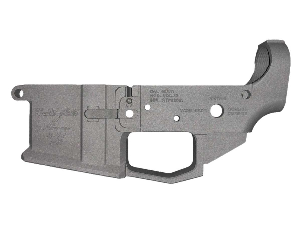 "EDC Tactical ""We The People"" AR-15 Lower Receiver Passenger Side - TITANIUM CERAKOTE"