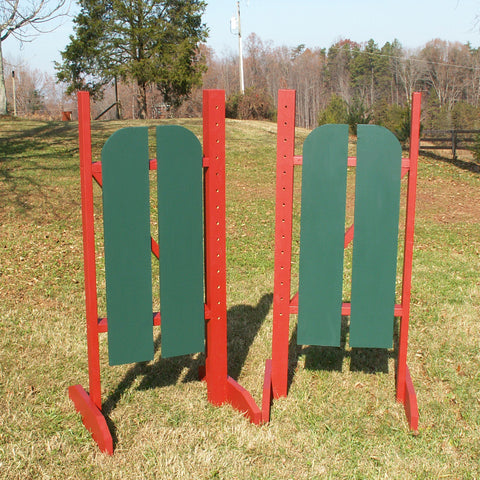 2 Panel Barn Door Wing Standards Wood Horse Jumps - Platinum Jumps