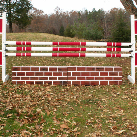 Brick Pattern Wall Wood Horse Jumps Set/2 - Platinum Jumps