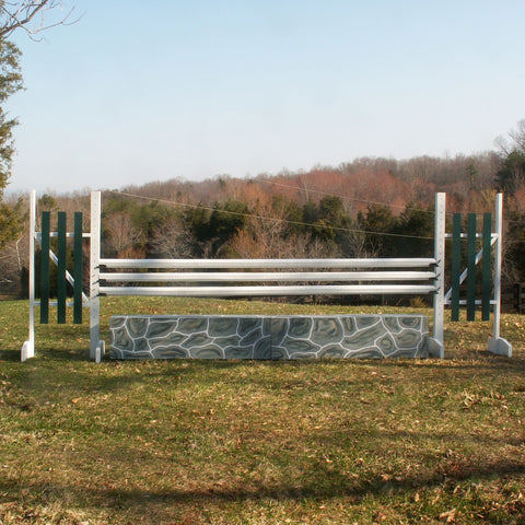 Stone Pattern Wall Wood Horse Jumps Set/2 - Platinum Jumps