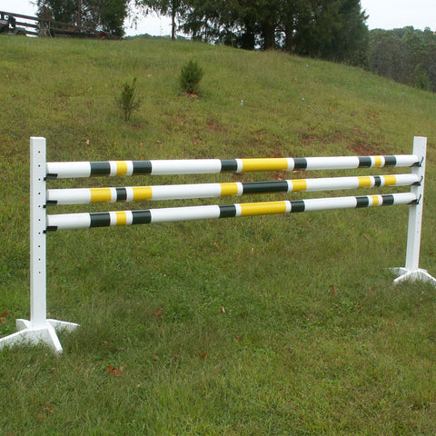 Set/3 - 3 Stripe/2 Color Round Rails/Poles Wood Horse Jumps - Platinum Jumps