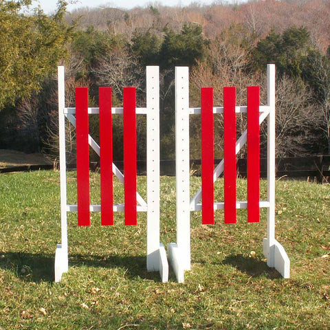 3 Panel Colored Wing Standards Wood Horse Jumps - Platinum Jumps