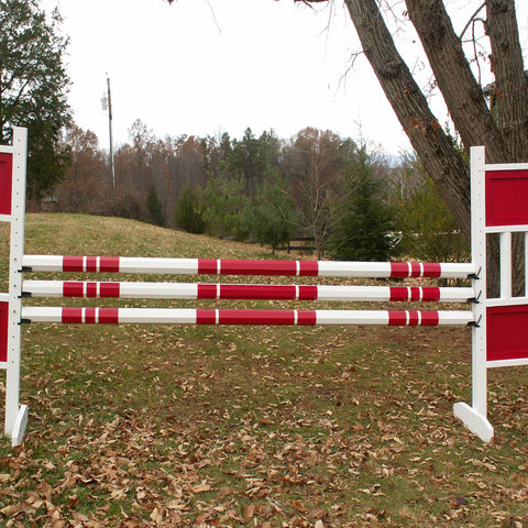 3 Stripe 1 Color Round Rails/Poles Wood Horse Jumps Set/3 - Platinum Jumps