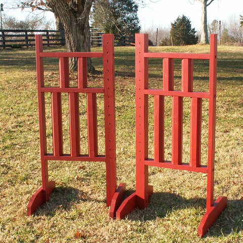 5 Column Wing Standards Wood Horse Jumps - Platinum Jumps