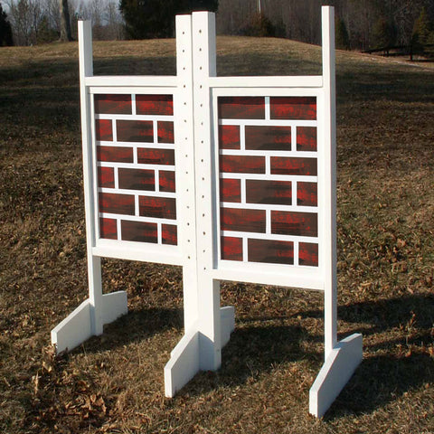 Solid Brick Panel Wing Standards Wood Horse Jumps - Platinum Jumps