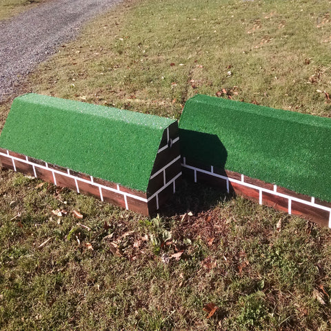 Brick Pattern Roll Top Wall Horse Jumps Set/2 - Platinum Jumps