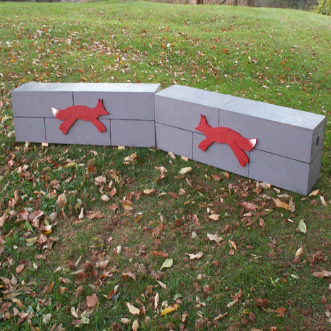 Gray Fox Box Wall Wood Horse Jumps Set/2 - Platinum Jumps