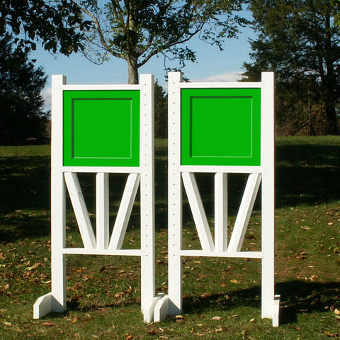 "6ft Solid Panel Top Triple Rail ""V"" Bottom Jumper Wing Standards Horse Jumps #257 - Platinum Jumps"