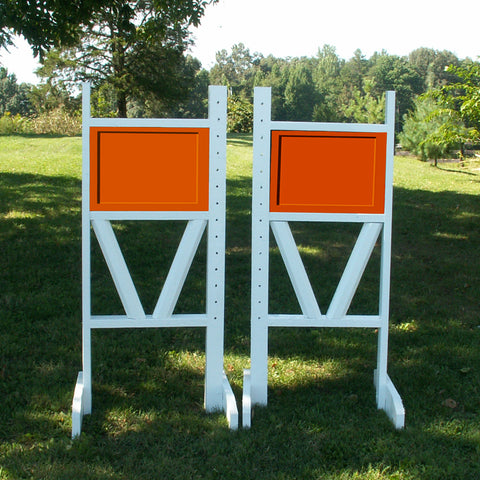 "6ft Solid Panel Top Double Rail ""V"" Bottom Jumper Wing Standards Horse Jumps #258"