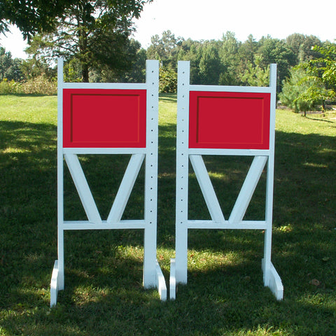 "6ft Solid Panel Top Double Rail ""V"" Bottom Jumper Wing Standards Horse Jumps #258 - Platinum Jumps"