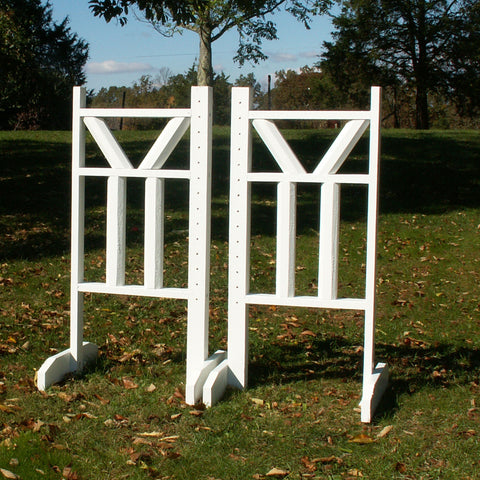 "6ft Top ""V"" Double Bottom Column Rails Jumper Wing Standards Horse Jumps #259 - Platinum Jumps"