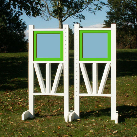 "6ft 2 Color Solid Panel Top Triple Rail ""V"" Bottom Jumper Wing Standards Horse Jumps #262 - Platinum Jumps"
