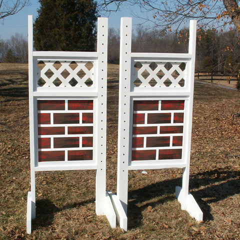 Lattice Top Brick Bottom Wing Standards Wood Horse Jumps - Platinum Jumps