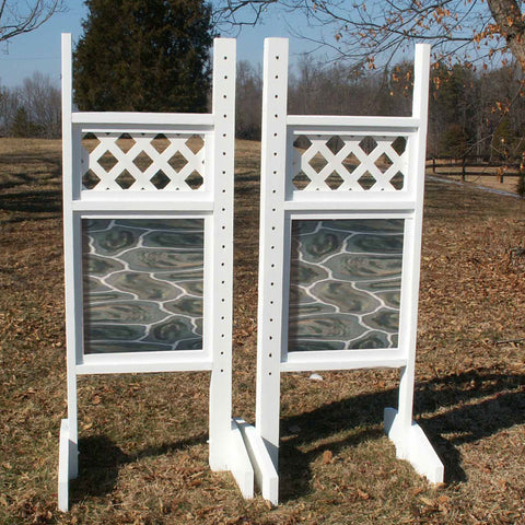 Lattice Top Stone Bottom Wing Standards Wood Horse Jumps - Platinum Jumps