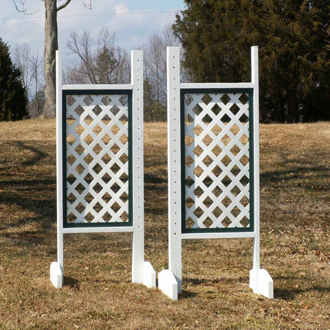 Solid Lattice Panel Wing Standards Wood Horse Jumps - Platinum Jumps