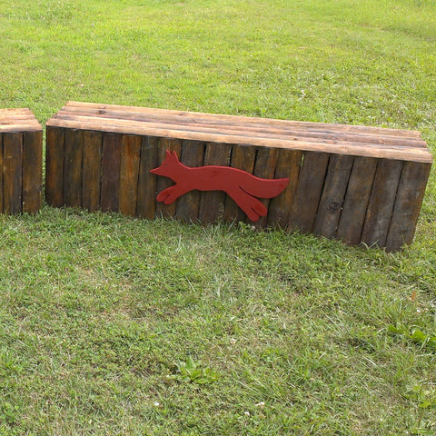 Natural Bark Vertical Panel Fox Box Horse Jumps Set/2 - Platinum Jumps