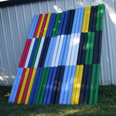 White Center Colored Ends Cut Rails/Poles Wood Horse Jumps - Platinum Jumps