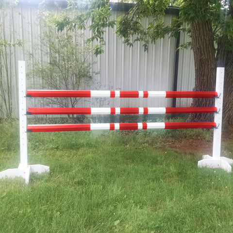 Double Band Colored Cut Rails/Poles Wood Horse Jumps Set/3 - Platinum Jumps