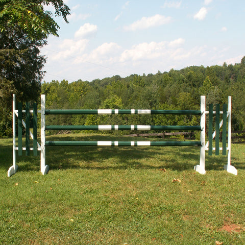 Double Band Colored Round Rails/Poles Wood Horse Jumps Set/3 - Platinum Jumps